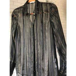 Frame Denim Noir Lurex Stripe Collared Shirt